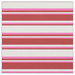[ Thumbnail: White, Red & Hot Pink Striped Pattern Fabric ]