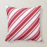 [ Thumbnail: White, Red & Hot Pink Striped Pattern Throw Pillow ]