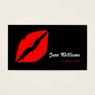 White Red Lips Makeup Artist Business Card