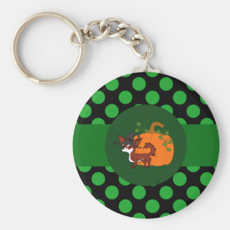 White & Red Long Hair Chihuahua with Pumpkin Basic Round Button Keychain