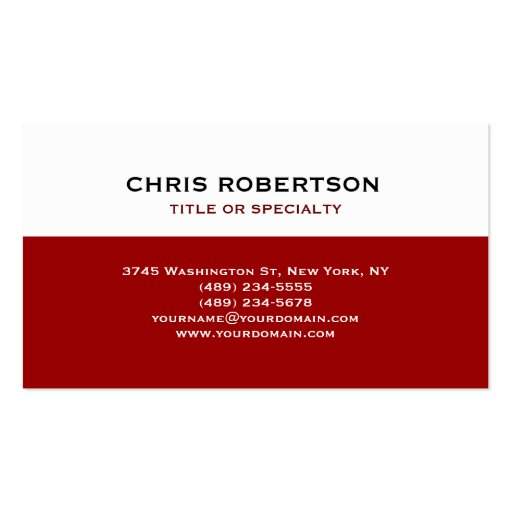 White Red Modern Simple Plain Business Card