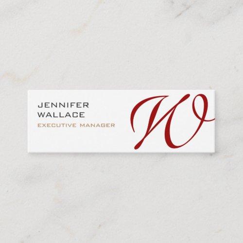 White Red Monogram Trendy Modern Plain Mini Business Card