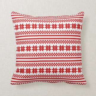 White Red Nordic Christmas Sweater Pattern Throw Pillow