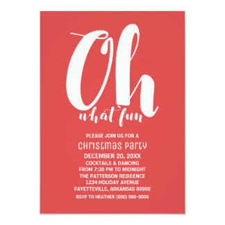 White Red Oh What Fun Holiday Party Invite
