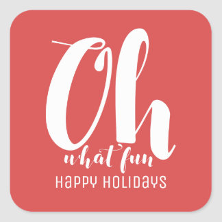 White Red Oh What Fun Holiday Stickers