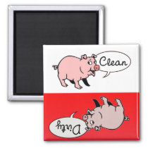 White & Red Pigs Magnet
