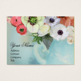 WHITE RED PINK ROSES AND ANEMONE FLOWERS MONOGRAM BUSINESS CARD