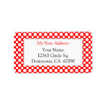 """White Red Polka Dots Custom New Address Lables Label<br><div class=""""desc"""">A custom new address label with friendly letters reading New Address in red and room for your address in a block font in black,  with simple white polka-dots on a red background.  Customize it to change the fonts,  background colors and more,  and save your design for later.</div>"""