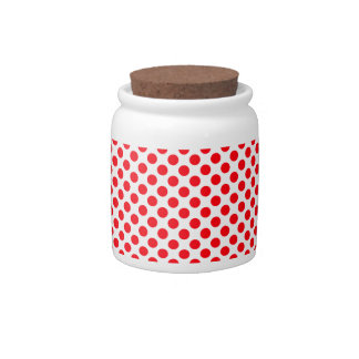 White Red Polka Dots Pattern - Candy Jar