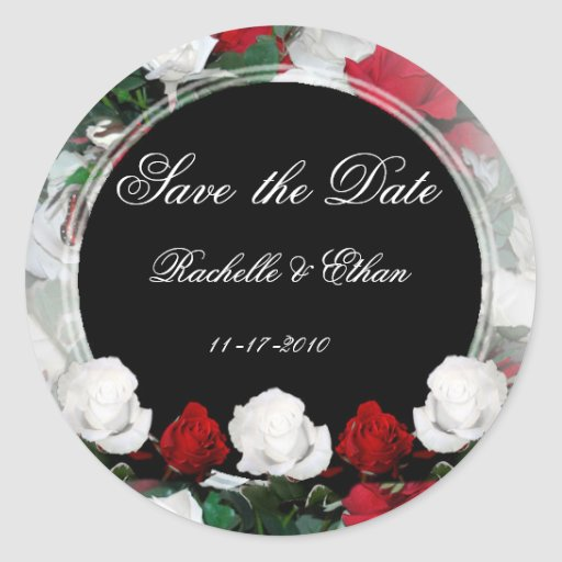 White & Red Roses Save the Date Wedding Stickers 1