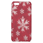 White & Red Snowflake Design iPhone 5C Covers