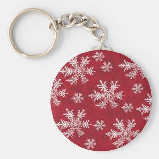 White & Red Snowflake Design Keychain