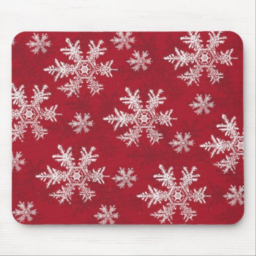 White & Red Snowflake Design Mousepads