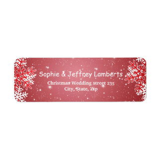 White red snowflakes on red Christmas Label