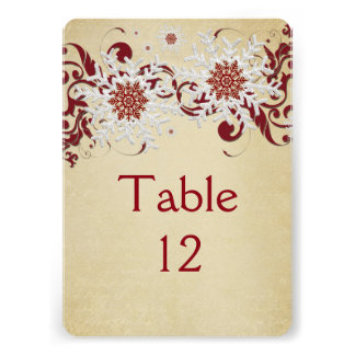 White&Red Snowflakes Swirls Table card