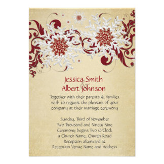 White&Red Snowflakes Swirls Wedding Invite