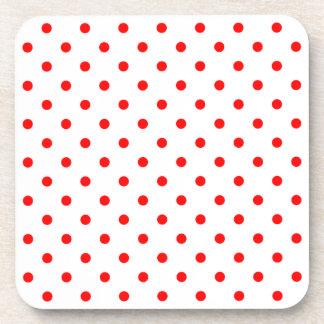 White Red Spotty Polka Dot Pattern Coasters