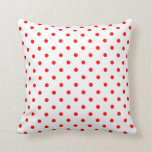 White Red Spotty Polka Dot Pattern Pillows