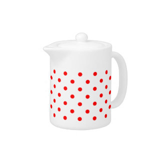 White Red Spotty Polka Dot Pattern Teapot