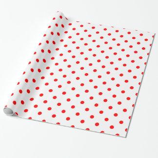 White Red Spotty Polka Dot Pattern Gift Wrap Paper