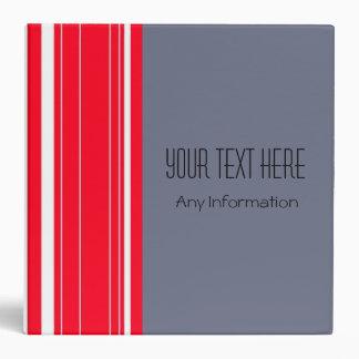 White Red Stripes. Plain Grey Background Binder