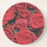 White Red sweetheart roses flowers Beverage Coaster
