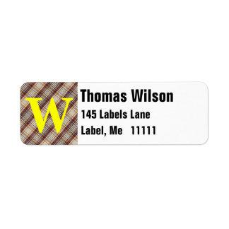 White Red Tan Diagonal Plaid Fabric Design Label