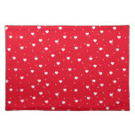 White & Red Valentines Hearts On White Background Cloth Place Mat