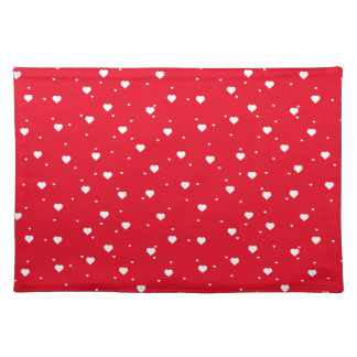 White & Red Valentines Hearts On White Background Cloth Placemat
