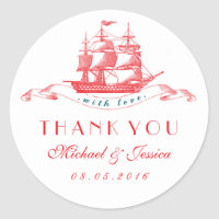 White Red Vintage Ship Wedding Thank You Sticker