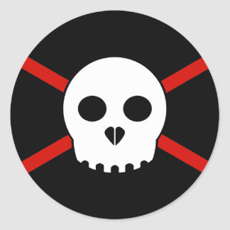 White & Red X-Skull Sticker