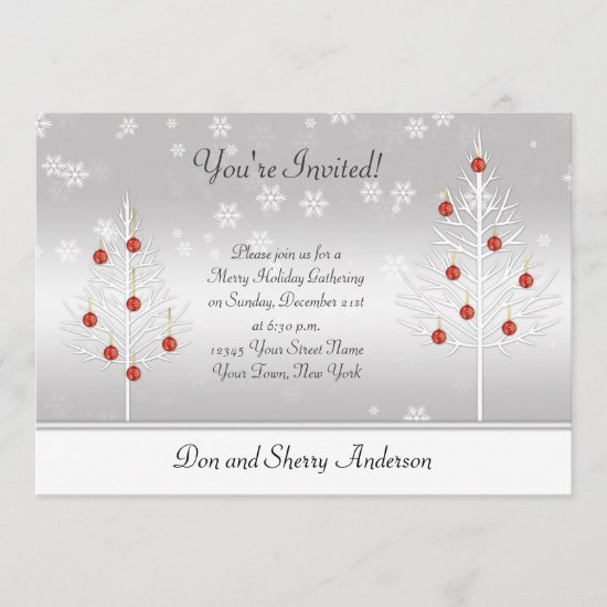 White Red Xmas Trees on Silver Holiday Party Card