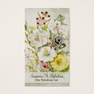 White Red Yellow Flower Bouquet Business Card