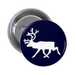 White Reindeer 2 Inch Round Button