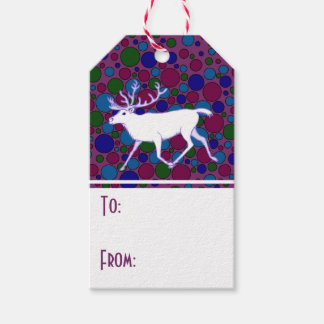 White Reindeer Caribou Polka Dot Christmas Holiday Pack Of Gift Tags