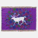 White Reindeer Caribou Polka Dot Christmas Holiday Throw Blanket