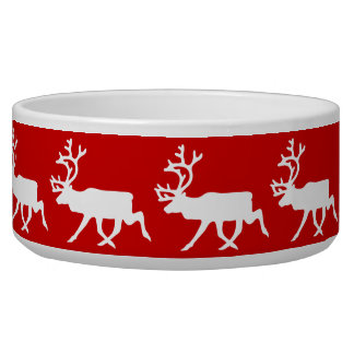 White Reindeer / Caribou Silhouette Bowl