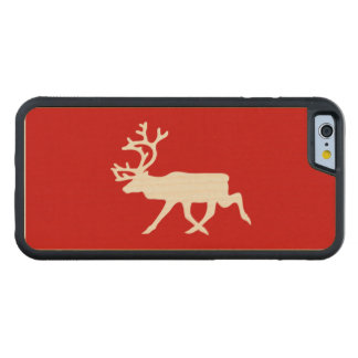White Reindeer / Caribou Silhouette Carved Maple iPhone 6 Bumper Case