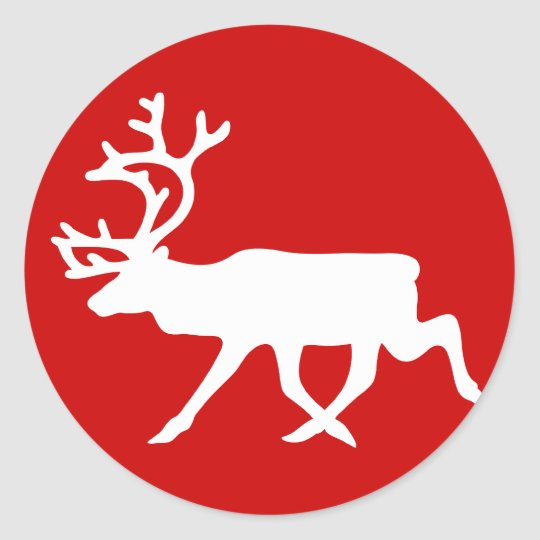 White Reindeer / Caribou Silhouette Classic Round Sticker
