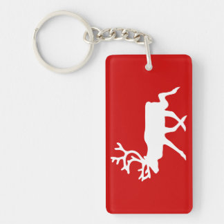 White Reindeer / Caribou Silhouette Keychain