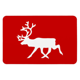 White Reindeer / Caribou Silhouette Magnet