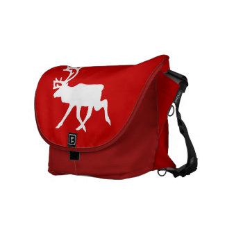 White Reindeer / Caribou Silhouette Messenger Bag