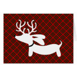 White Reindeer Dachshund on Plaid Greeting Card