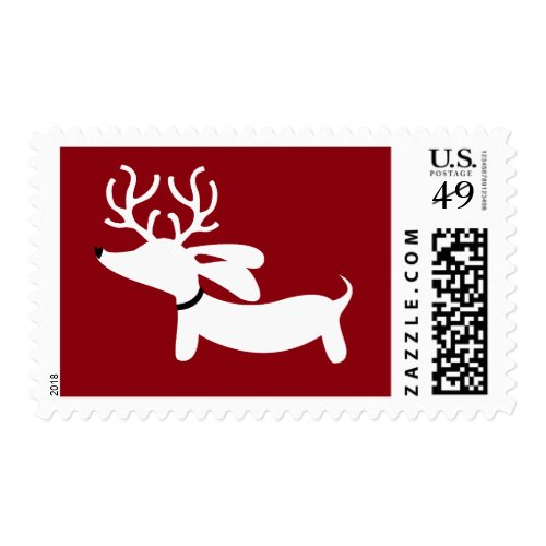 White Reindeer Dachshund on Red Postage