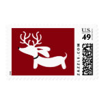 White Reindeer Dachshund on Red Postage Stamp