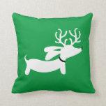 White Reindeer Dachshund Pillow