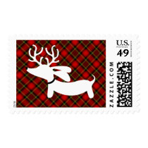 White Reindeer Dachshund Red Plaid Holiday Stamp