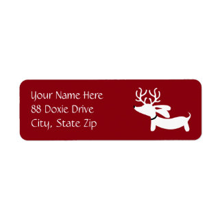White Reindeer Dachshund Return Address Labels