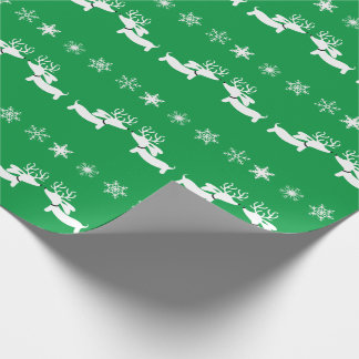 White Reindeer Dachshund with Snowflakes on Green Wrapping Paper