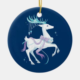 White Reindeer Double-Sided Ceramic Round Christmas Ornament